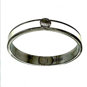 Coach White Enamel Hinged Bangle